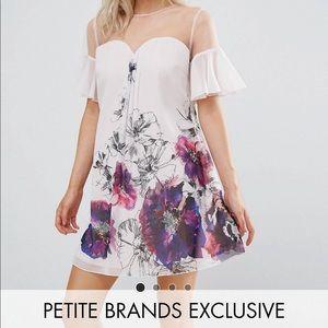 Floral Bridal Shower Flutter Sleeve Illusion Dress
